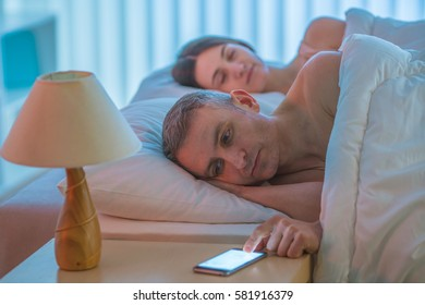 The man lay with woman and phone