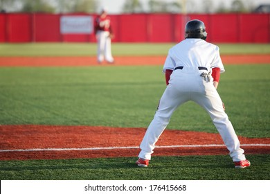 Man leading off on third base