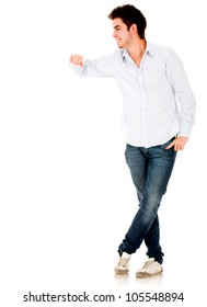 Man leaning on an imaginary object - isolated over a white background