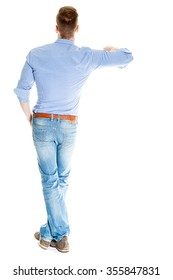 Man leaning on something imaginary - isolated over a white background