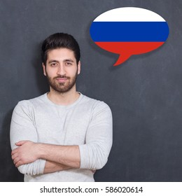 Man learn speaking serbian in bubble