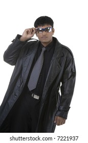 Man in Leather Trench over white background
