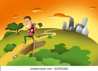 Man leaving city stress and rush and go to nature for peace and happiness