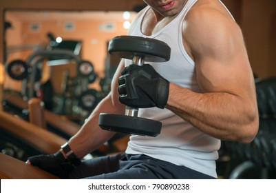 Man lift weights at the gym.Young man in the gym.Young man in the gym, exercise for the biceps