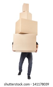 Man lifting cardboard boxes on white with clipping path