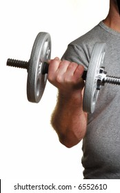 Man lifting dumbell weights