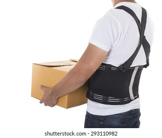 The man lifts a cardboard box wearing back support belt for protect body