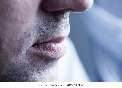 Man lips. full frame close up. Concept photo of male sexuality and skin medical care.