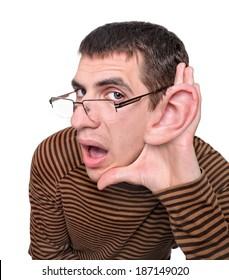 Man listening with big ear