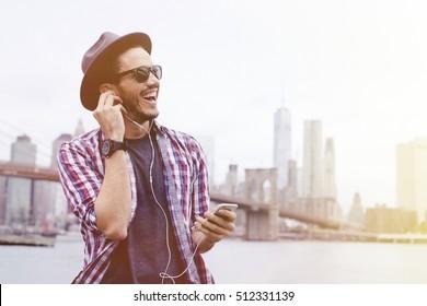Man listening music in Brooklyn, New York