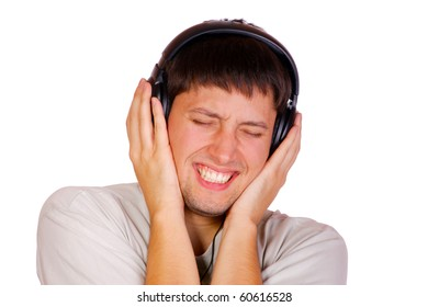 Man is listening to the music over white background