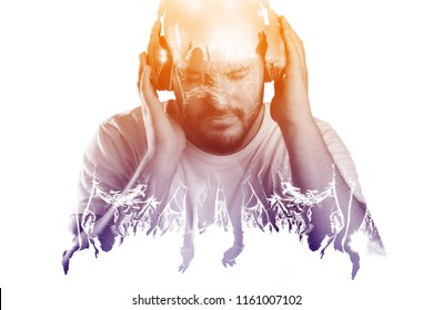 Man listening to music via earphones. Live music experience concept. Double exposure effect.