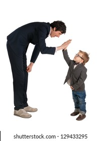 Man and little boy shake hands isolated on the white
