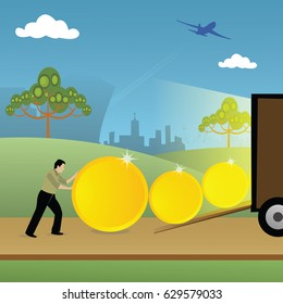 Man loading coins into a truck