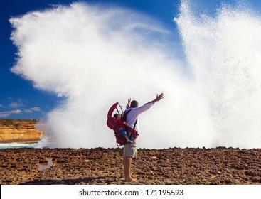 Man in Loch Ard Gorge, Great Ocean Road,Australia