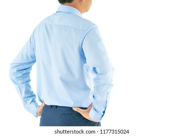 Man in long sleeve shirt wear standing with akimbo studio shot isolated on white background with clipping path