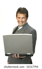 man look on laptop over white background