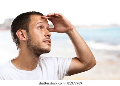 man looking forward to the future in the beach