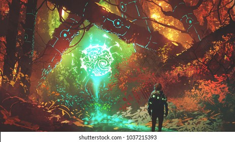 man looking at glowing futuristic light in enchanted red forest, digital art style, illustration painting