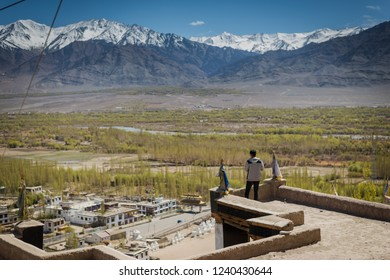 Man looking of landscape city view in Leh, Ladakh, India.