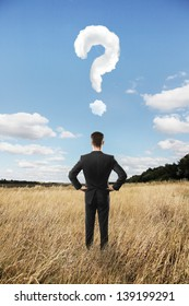 man looking in landscape and question mark