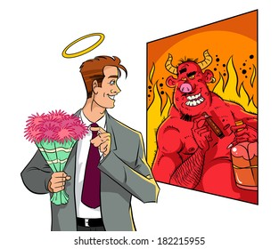 Man looking at mirror. Half devil half angel