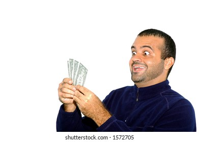 Man looking at notes of One Dollar