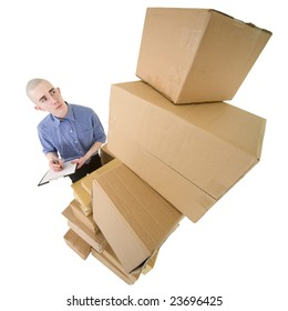 Man looking on pile cardboard boxes on white