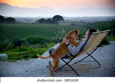 man looking at sunset with his dog