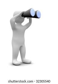 Man looking through binoculars. 3d rendered illustration.