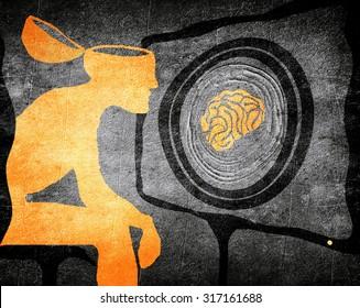 man looking tv washing brain illustration concept