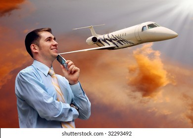 man looks at airplane in air with sunrise sky
