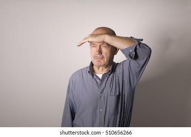 a man looks away