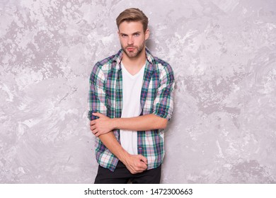 Man looks handsome in casual style. Discover latest styles of male clothes. Feeling casual and comfortable. Menswear and fashionable clothing. Guy wear casual outfit. Fashion concept. Handsome model.