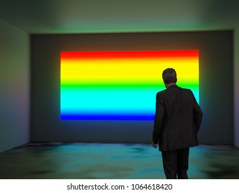 man looks at a rainbow screen, 3d illustration