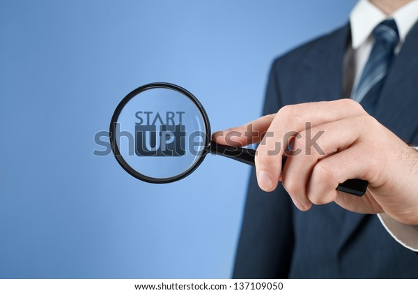 Man looks for startup business prepared to invest. Investor supervise the acceleration of start-up project.