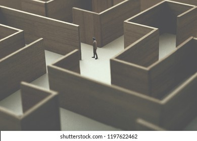 man lost in a complex maze, surreal concept