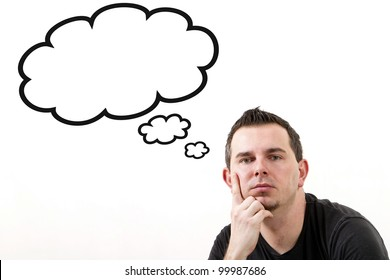 Man lost in thoughts, clouds with copy space isolated on white
