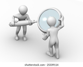 Man with loupe. Search. 3d