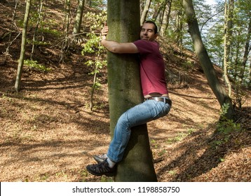man love nature hug tree forrest save  planet, climate change, increases levels of hormone oxytocin, emotional bonding, healing benefits
