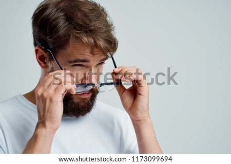 b239fcaf6923 Man Lowered His Glasses Black Frame Stock Photo (Edit Now ...