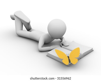 man lying and reading a book and a yellow butterfly on the book