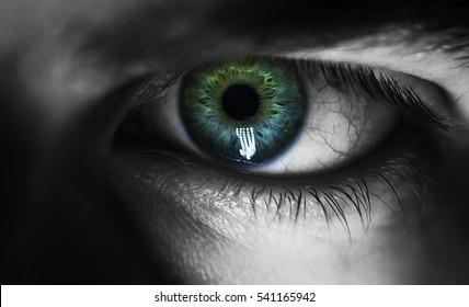 man macro green eyes from lack of sleep veins black and white, depressed eye tired