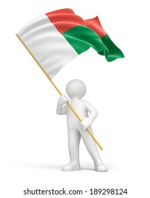 Man and Madagascar flag (clipping path included)