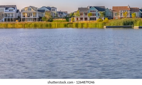 Man made Oquirrh Lake and homes in Daybreak Utah