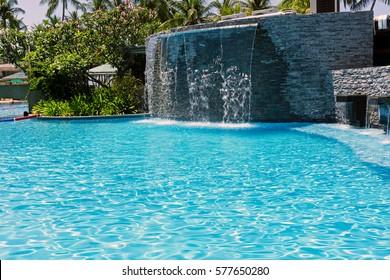Man made waterfall at the swimming pool, Kota Kinabalu, Sabah Borneo, Malaysia.