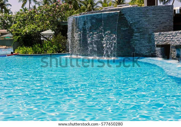 Man Made Waterfall Swimming Pool Kota Stock Image | Download Now
