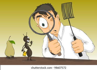 A man with a magnifying glass to notice smiling ant