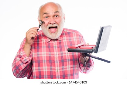 Man maintaining fashion blog. shaving kit in case. portable shaving tool set. unshaven old man shave moustache and beard hair. razor blade or shaver. shaving accessories. mature man isolated on white.