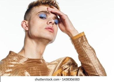 man with make up on an isolated trance background